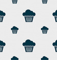 cake icon sign Seamless pattern with geometric vector image