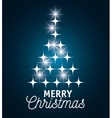 card merry christmas with star tree graphic vector image