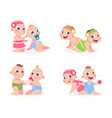 cartoon babies funny newborn boy and girl sitting vector image vector image