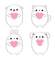 cat kitten bear dog puppy rabbit hare set holding vector image vector image