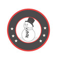 circular emblem with grayscale snowman vector image vector image