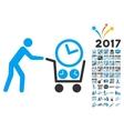 Clock Shopping Icon With 2017 Year Bonus Symbols vector image vector image
