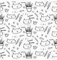 cute cat doodle pattern background vector image vector image