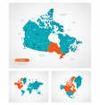 editable template map canada with marks vector image