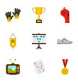 football equipment icons set flat style vector image vector image