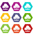 forest trees icon set color hexahedron vector image vector image