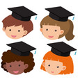 four kids wearing graduation hat vector image vector image