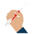 hand with syringe icon vector image