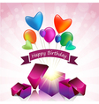 Happy Birthday card with magic gift box vector image vector image