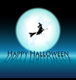 happy halloween witch on blue moon vector image