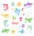 kawaii marine creatures collection funny cute fish vector image