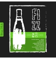 menu for a restaurant with bottle of fizz on the vector image