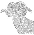 mountain goat adult coloring page vector image vector image
