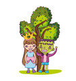 nice girl and boy with cute costumes and tree vector image