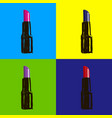 open lipstick of different colors in style pop art vector image