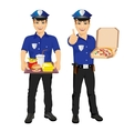 policemen holding tray full of fast food and pizza vector image