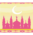 Ramadan background - mosque silhouette card vector image