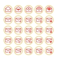 Red mail icons vector image vector image