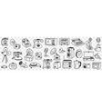 retro and modern technical appliances doodle set vector image