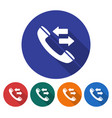 round icon of handset with incoming-outgoing vector image