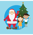Santa and children and tree vector image