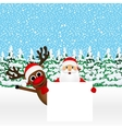 Santa Claus and reindeer with a blank vector image vector image
