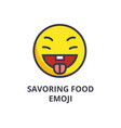 savoring food emoji line icon sign vector image
