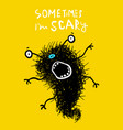scary crazy mad grimace monster greeting card vector image vector image