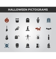 set flat design halloween icons and pictograms vector image vector image