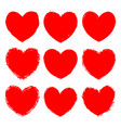 set red grunge art hearts ink rough texture vector image vector image