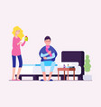 sick man flu infection cold male and woman vector image vector image
