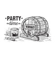 sketch whiskey bottle and glass and wooden barrel vector image vector image