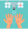 smiling cute washing hands of a kid habituate kid vector image