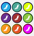socks icon sign Nine multi colored round buttons vector image vector image