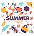 summer time swimsuit with flowers and female vector image vector image