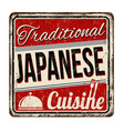traditional japanese cuisine vintage rusty metal vector image vector image