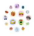 wedding comics icons set vector image vector image