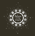 zodiac circle with horoscope signs and inspiring vector image
