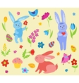 Set of cute Easter rabbits vector image