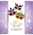 welcome carnival party cute masks with feathers vector image