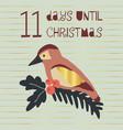 11 days until christmas bird vector image