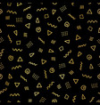 abstract memphis shapes gold foil seamless pattern vector image vector image