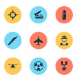 army icons set collection of military dangerous vector image vector image