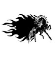 beautiful fiery horse black silhouette vector image vector image