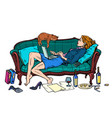 beautiful woman at home with a cat working and vector image vector image