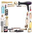 beauty accessories frame vector image