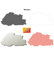 Bhutan outline map set vector image vector image