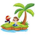 boy and girl isolated on island vector image