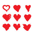 brushstroke painted red heart shape vector image vector image