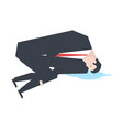 businessman is crying boss and puddle of tears vector image